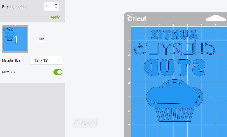 Screenshot of Cricut Design Space showing a Mirrored Design for Infusible Ink