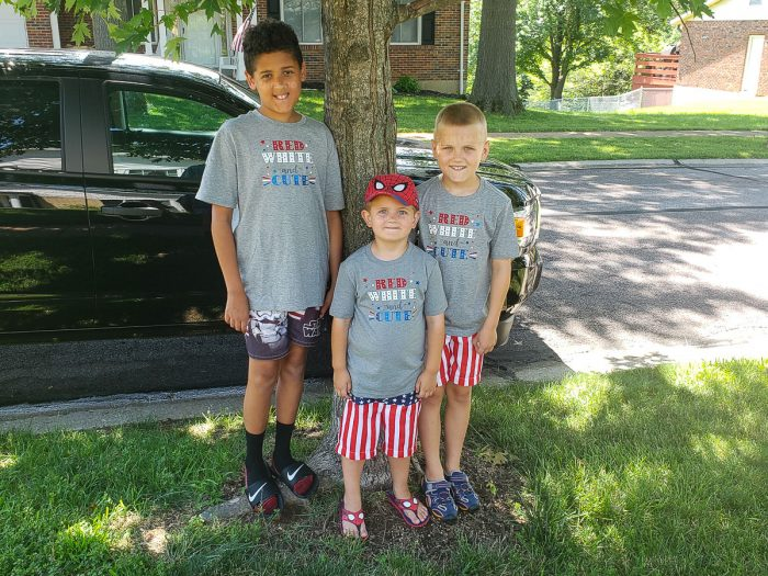 3 boys wearing the patriotic Red White and Cute Shirts