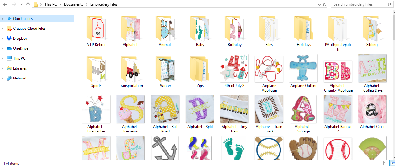 Screenshot of my embroidery folder on my laptop full of embroidery files