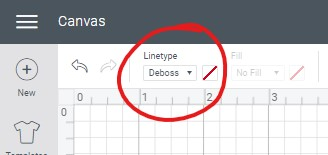 Screenshot of where to change line type to deboss in cricut design space