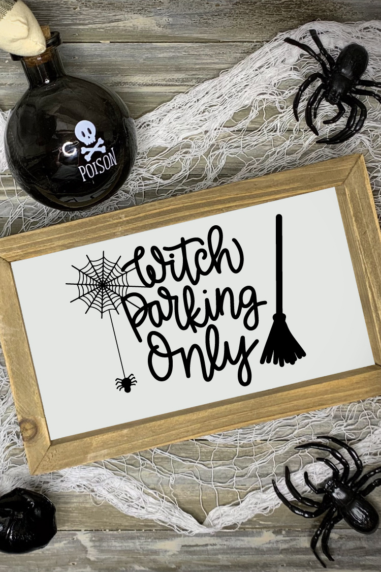 "Halloween scene with ""Witch Parking Only"" Sign"