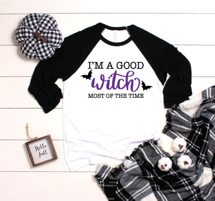 "White and Black Raglan T-Shirt with ""I'm A Good Witch Most of the Time"" Iron on Design"