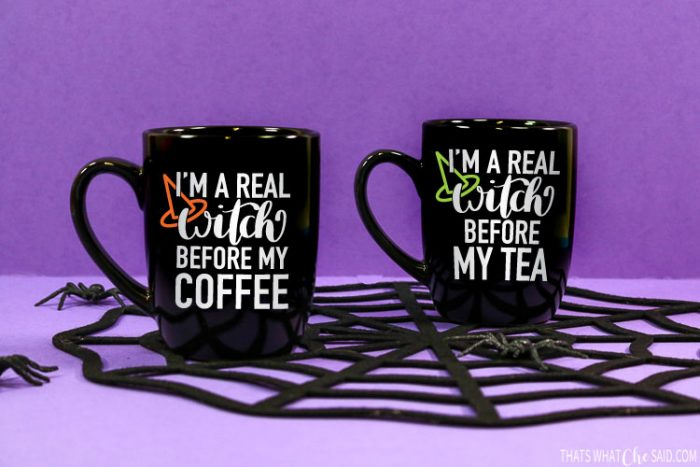 "2 Black Coffee mugs with ""I'm a real witch before my coffee or tea on them with vinyl"