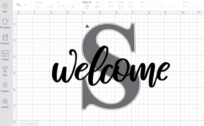 screenshot of completed design in Cricut design space software
