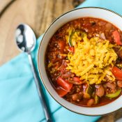 Bowl of Vegetarian chili with cheese made in the instant pot