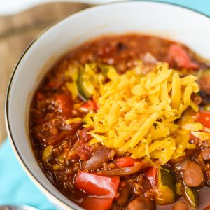 Vegetarian Chili made in the Instant Pot covered in Cheese
