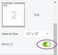 Snapshot of where to Mirror Designs in Cricut Design Space