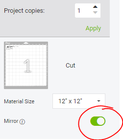 Cricut Design Space screenshot of where to MIRROR your iron on vinyl