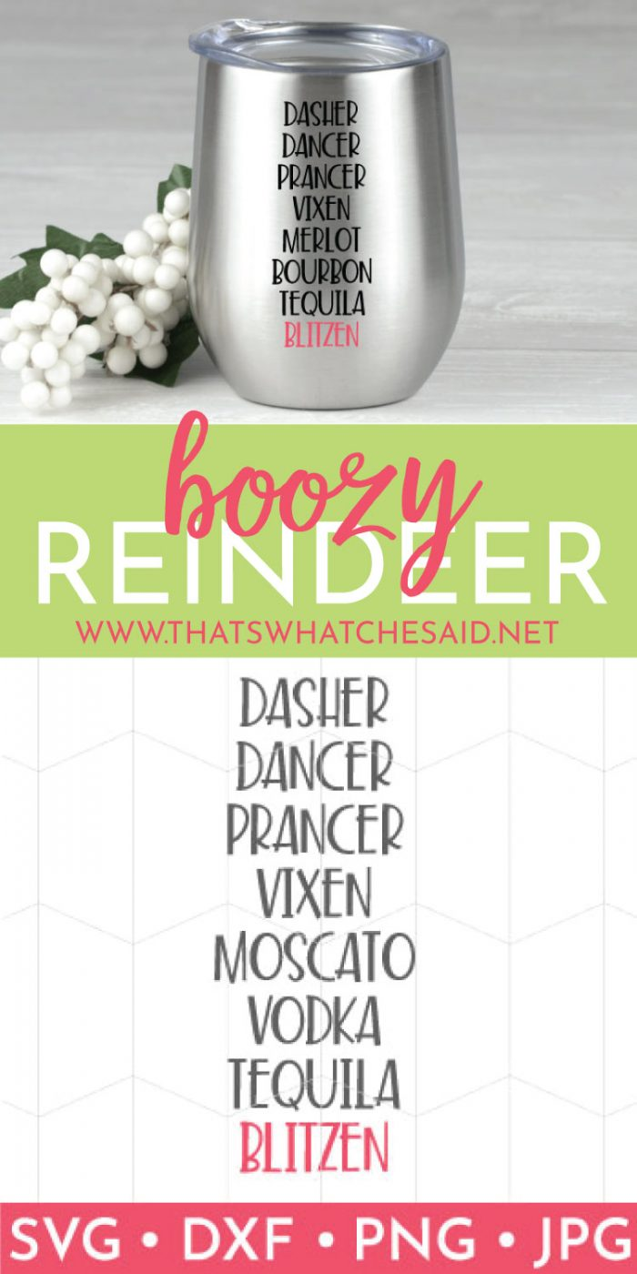 Boozy Reindeer Wine Tumbler with SVG Cut files
