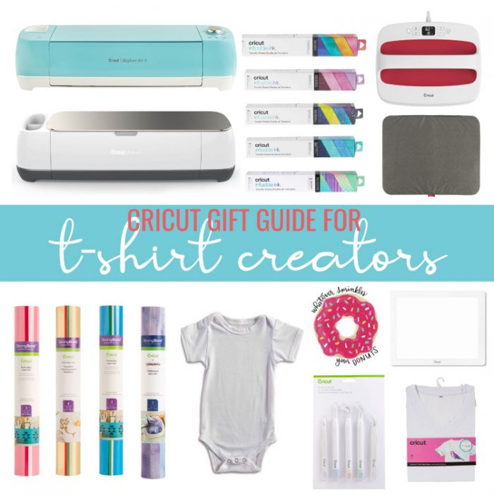 Collage of items included in the Cricut Gift Guide for T-Shirt Creators