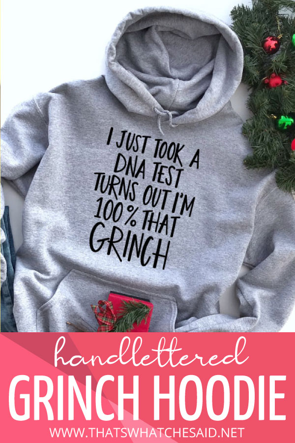 Grey Hoodie with Song Lyrics tuned to the grinch