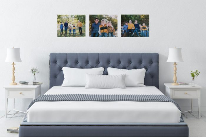 Bed with three 16x20 Canvas on Demand Canvases displayed