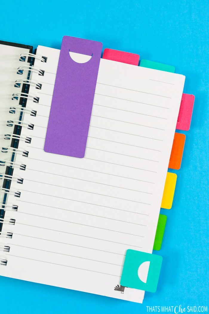 DIY Planner tabs and bookmarks on a notebook to show completed look