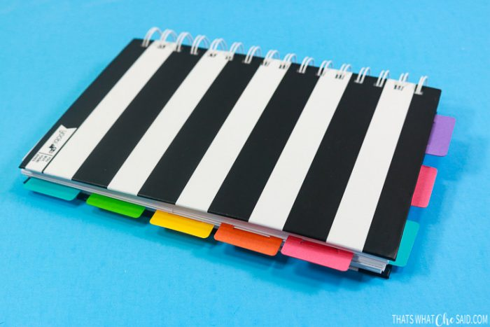 Black and White Striped notebook with DIY Planner Tabs and Bookmarks to make it easy to use as a planner