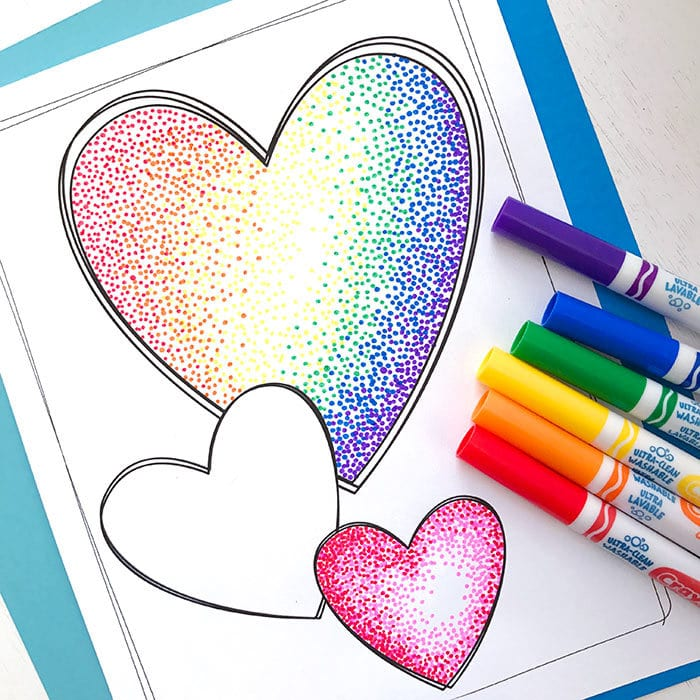 heart coloring page with markers