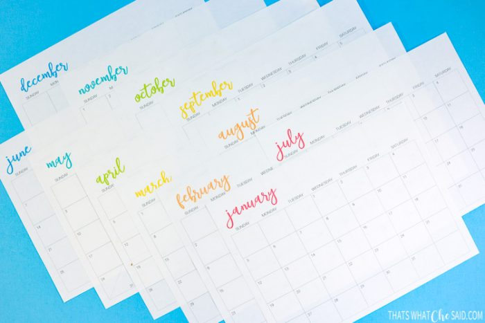 Free Printable Calendar with Rainbow colored months.