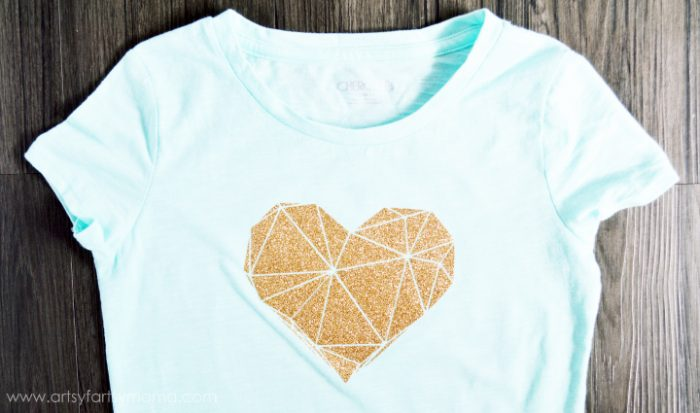 Mint green shirt with gold sparkly geometric heart design