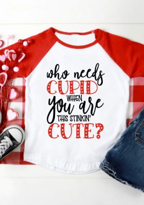 Red and White Raglan with Valentine design in ironon