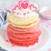 Red to Pink to White Ombre Pancakes with Valentine chocolate heart decoration on top