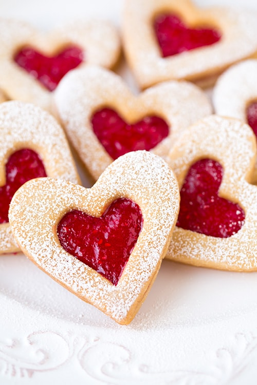 Red heart center linzer cookies