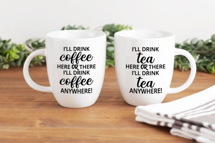 2 white mugs, one has coffee dr. seuss saying and the other has tea dr. seuss saying