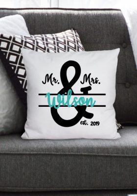 horizontal photo of two tone custom Mr & Mrs Pillow
