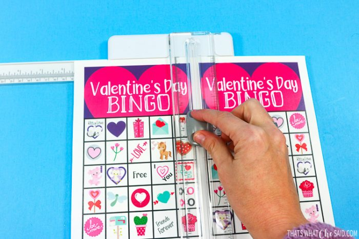 Cutting printed Bingo Cards with Paper Cutter