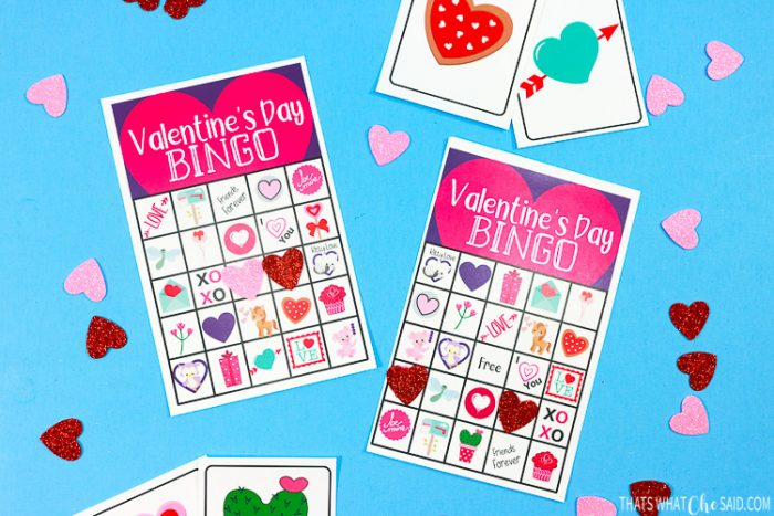 Printable Valentine's Day Bingo Cards with a few calling cards and foam heart card markers!