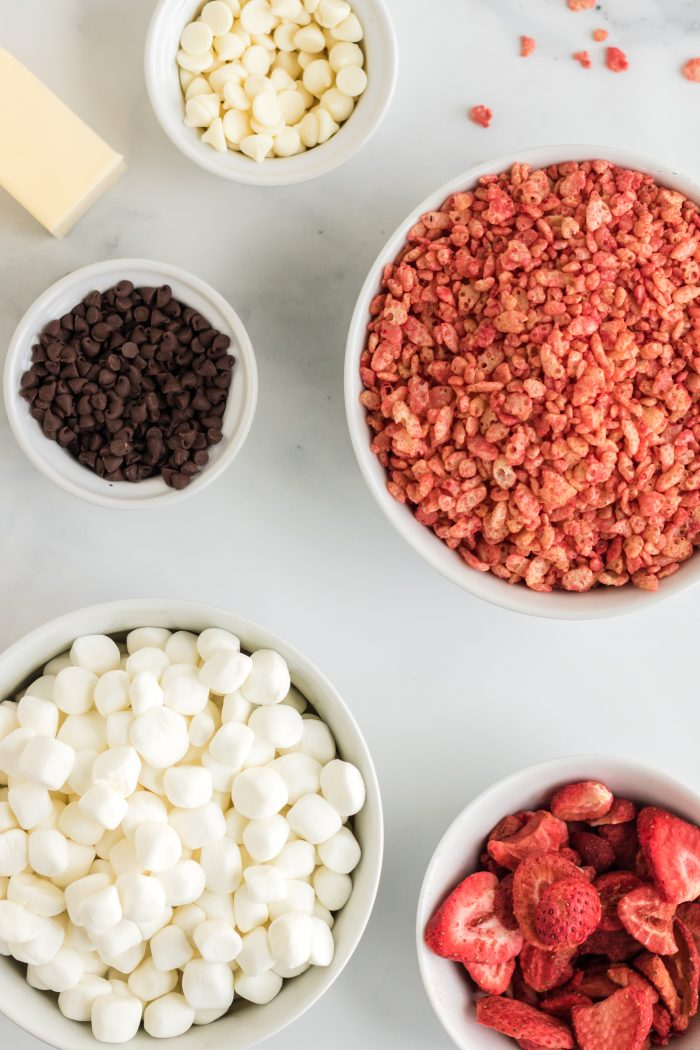 Ingredients for Chocolate Covered Strawberry Rice Krispie Treats