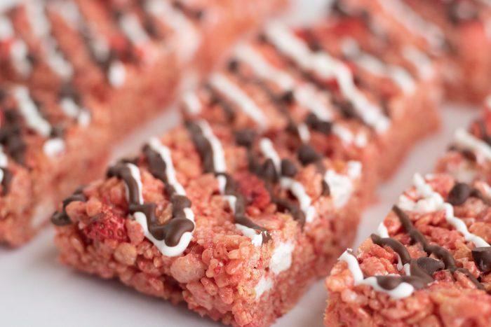 Horizontal close up of Chocolate Covered Strawberry Rice Krispie Treats