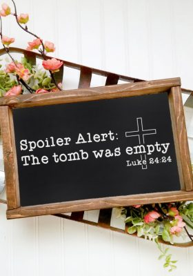 Vertaical shot of chalkboard sign with vintage basket