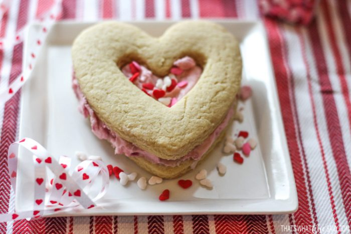 Heart Shortbread Sandwich cookie with Valentine Sprinkles on a plate