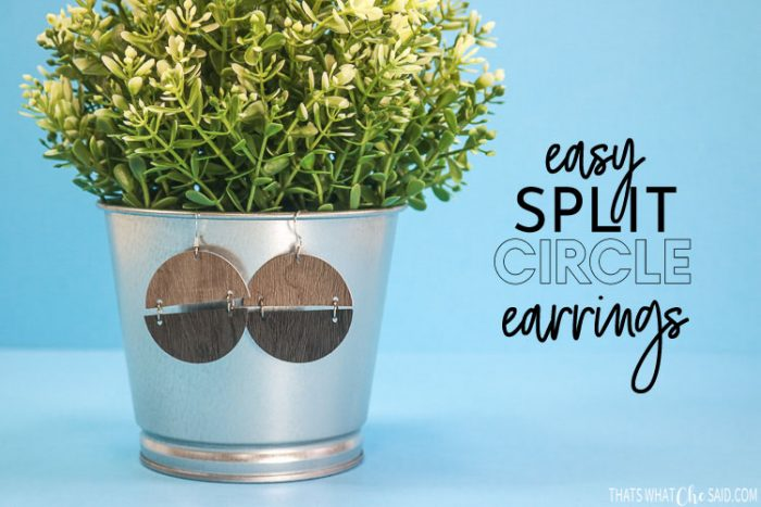 Circle Earrings in 2 differnt colors of faux wood grain leather attached by jump rings