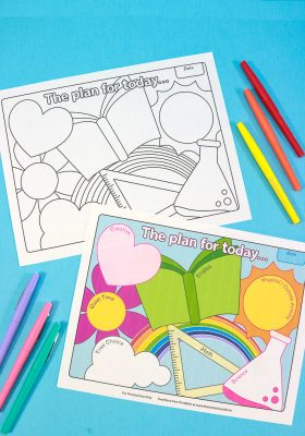 Black & White Homeschool Printable and Colored Options printed and laying next to colored pens