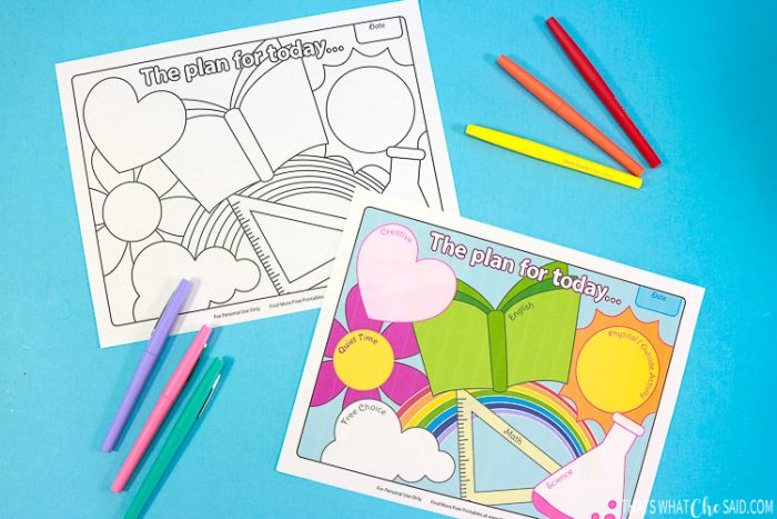 Black & White Homeschool Printable and Colored Options printed and laying next to colored pens - Horizontal