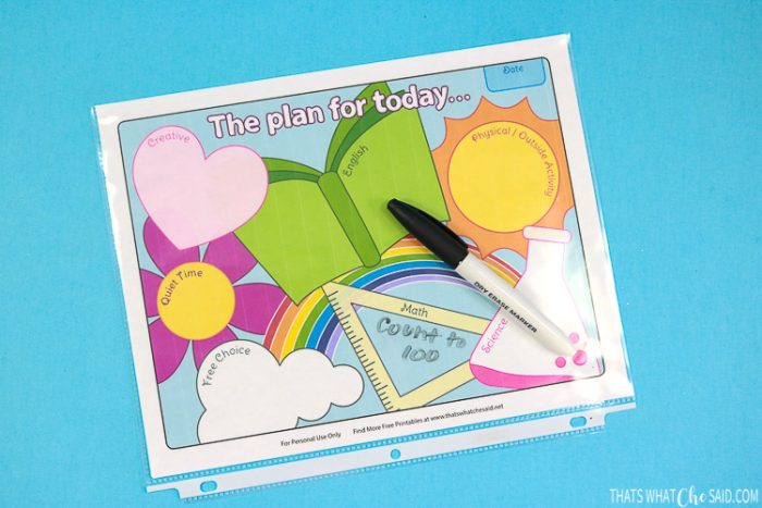 Homeschool sheet in plastic binder sleeve with dry erase marker to make printable reusable