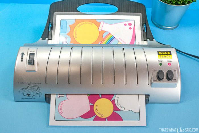 Homeschool planner printable going through Scotch Home Laminator