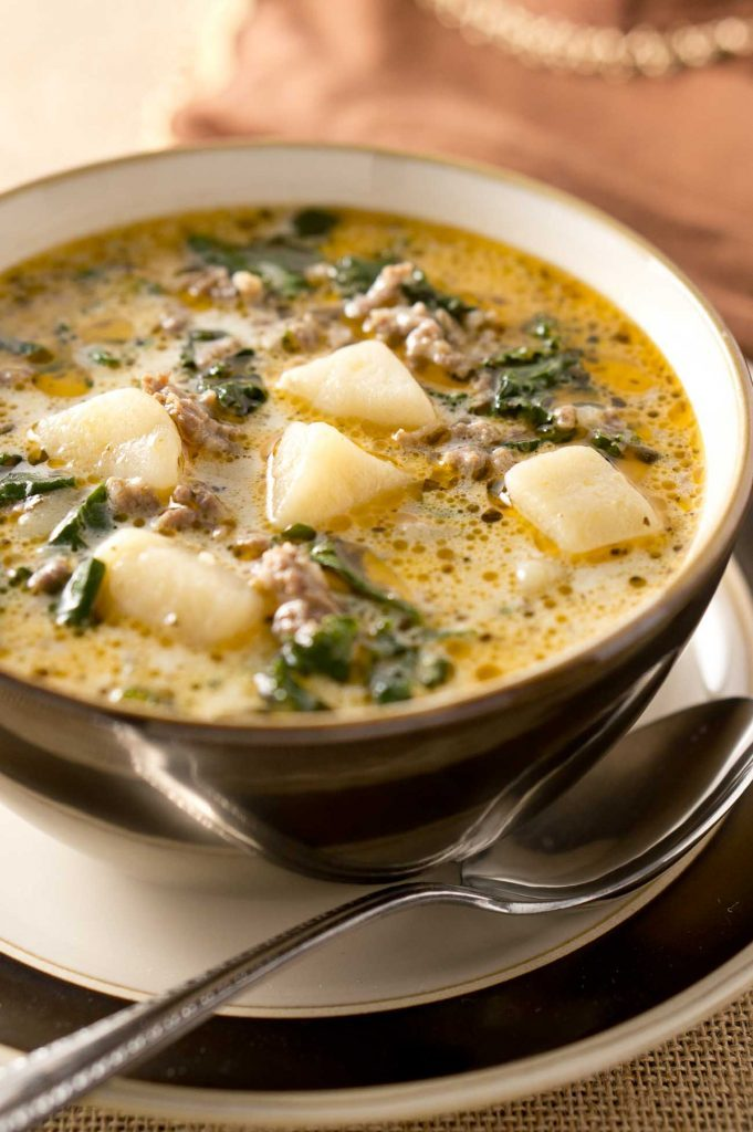 Zuppa Toscana soup, close up shot with spoon