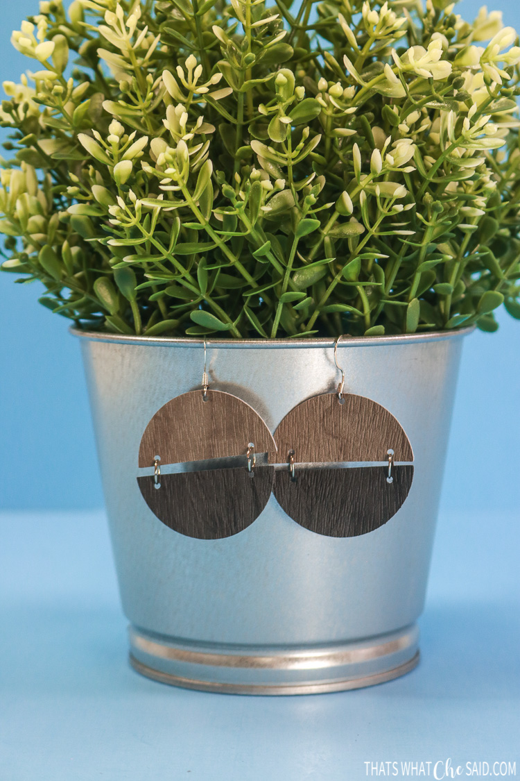 Semi Cirlce Earrings hanging on a faux plant pot