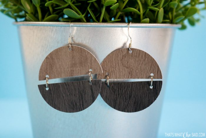 Close up of Faux leather wood grain split circle earrings