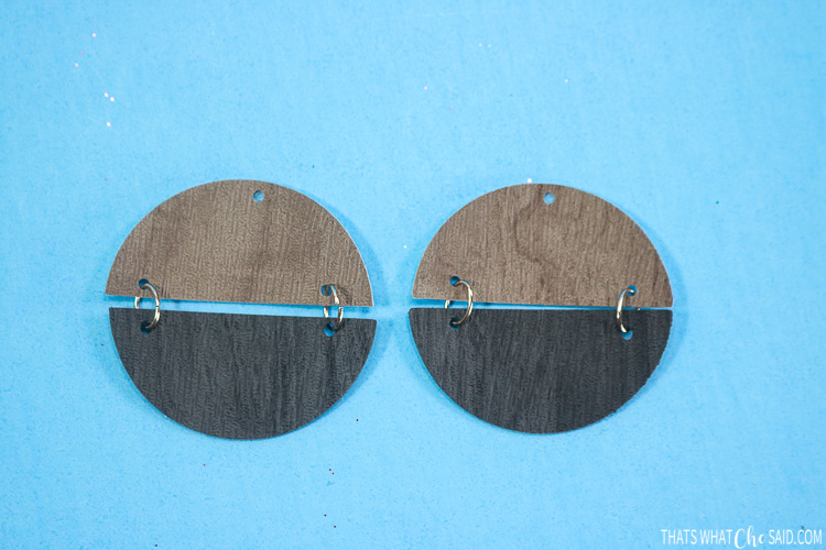 Split Circle earrings connected together with jump rings