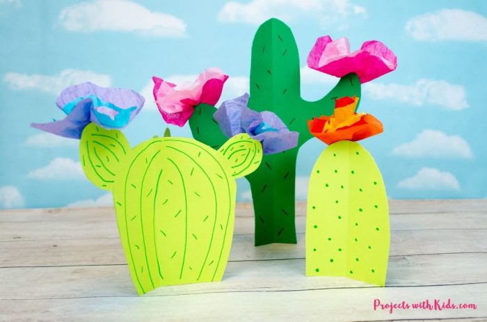 Cactus cut outs with colorful tissue paper flowers.