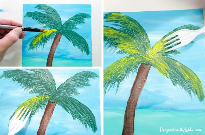 Palm tree on beach scene canvas painted using a fork for texture.