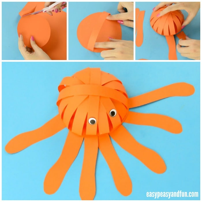 3D Octopus made from simple construction paper shapes.