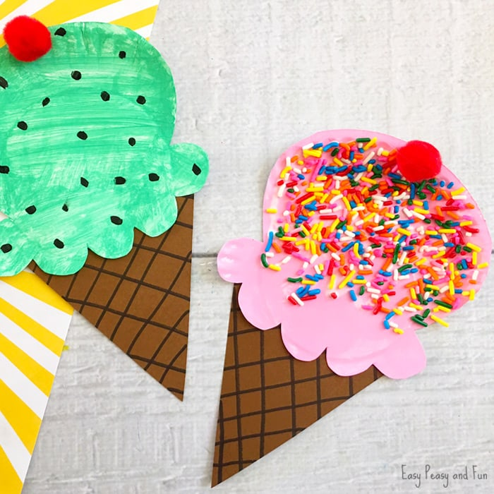 Ice cream craft made from painted paper plates and decorated with sprinkles.