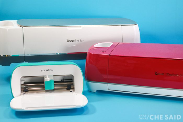 Cricut Maker, Cricut Explore Air 2 in Wild Rose Color and Cricut Joy machines.