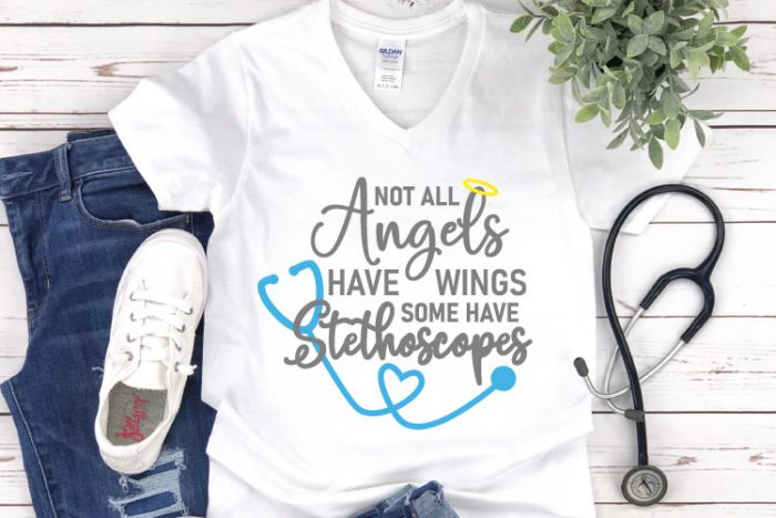 "White shirt with jeans and tennis shoes and a stethoscope.  Shirt reads""Not all Angels Have wings, some have stethoscopes"""