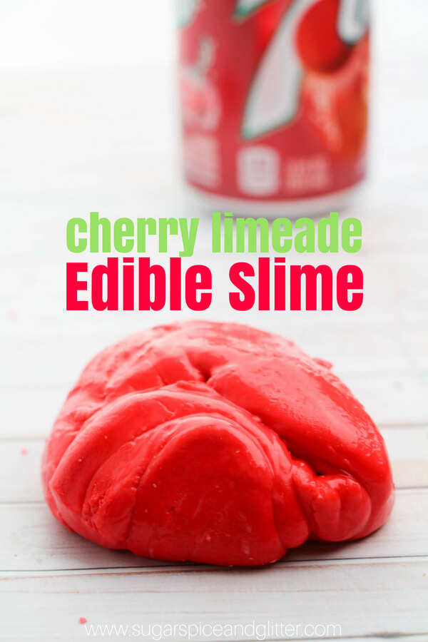 Red edible slime flavored as cherry limeade