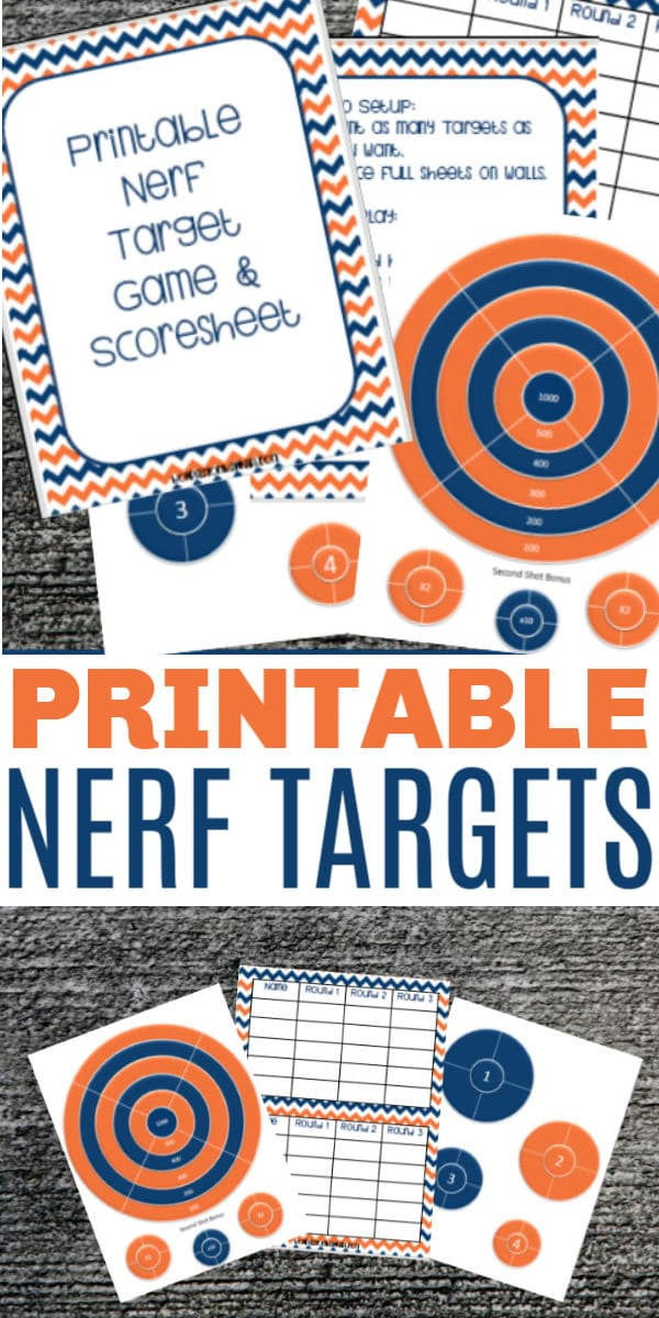 Printable nerf gun targets and scoresheets