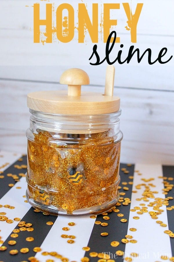 Gold glittery slime with gold sequins and honeybee charms.